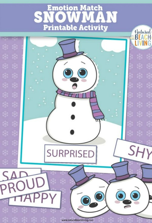 Printable Preschool Snowman Emotions- These winter kids crafts, free printables, and activities are easy (and inexpensive) ways to keep the kids busy during the winter! A lot of fun learning activities are also included! | kids crafts, kids activities, winter themed kids crafts, snowman kids activities, color by number, snowman slime, homeschooling printables, winter learning activities for kids #freePrintables #kidsActivities #ACultivatedNest