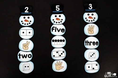Snowman Number Matching Kids Activity- These winter kids crafts, free printables, and activities are easy (and inexpensive) ways to keep the kids busy during the winter! A lot of fun learning activities are also included! | kids crafts, kids activities, winter themed kids crafts, snowman kids activities, color by number, snowman slime, homeschooling printables, winter learning activities for kids #freePrintables #kidsActivities #ACultivatedNest