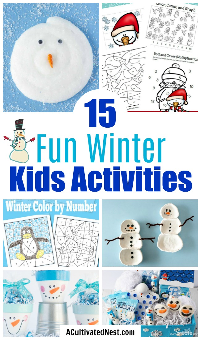 15 Frugal Winter Activities for Kids- These winter kids crafts, free printables, and activities are easy (and inexpensive) ways to keep the kids busy during the winter! A lot of fun learning activities are also included! | kids crafts, kids activities, winter themed kids crafts, snowman kids activities, color by number, snowman slime, homeschooling printables, winter learning activities for kids #freePrintables #kidsActivities #ACultivatedNest