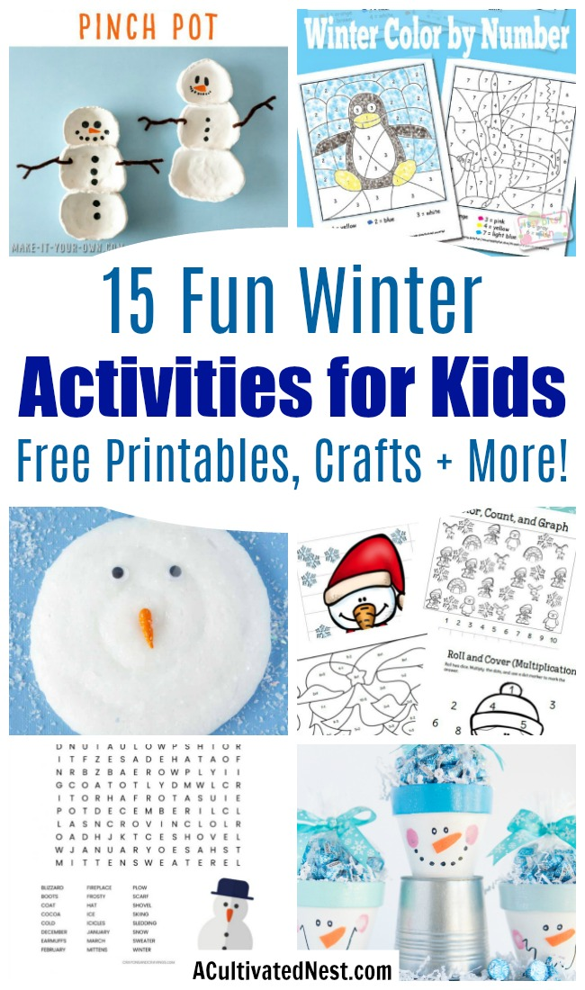 15 Frugal Winter Activities for Kids- Keeping your kids busy during the winter doesn't have to cost a lot or be difficult. Just try these fun and frugal winter activities for kids! | kids crafts, kids activities, winter themed kids crafts, snowman kids activities, color by number, snowman slime, homeschooling printables, winter learning activities for kids, free printables, #kidsCrafts #kidsActivities #ACultivatedNest