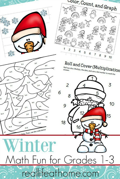Winter Math Packet Printables- These winter kids crafts, free printables, and activities are easy (and inexpensive) ways to keep the kids busy during the winter! A lot of fun learning activities are also included! | kids crafts, kids activities, winter themed kids crafts, snowman kids activities, color by number, snowman slime, homeschooling printables, winter learning activities for kids #freePrintables #kidsActivities #ACultivatedNest
