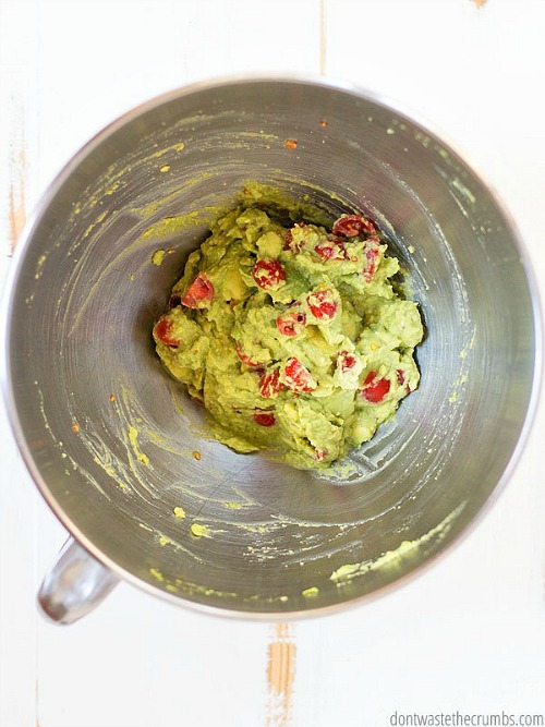 Guacamole Made in a KitchenAid Mixer- Your stand mixer is good for more than just mixing up desserts! Take advantage of all your mixer can do with these 15 KitchenAid mixer hacks and tips! | ways to use your KitchenAid mixer, things your stand mixer can do, mixer DIY play dough, shred chicken, #hacks #kitchenaid #ACultivatedNest