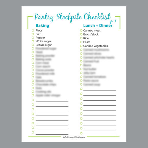 Pantry Stockpile Shopping List Printable