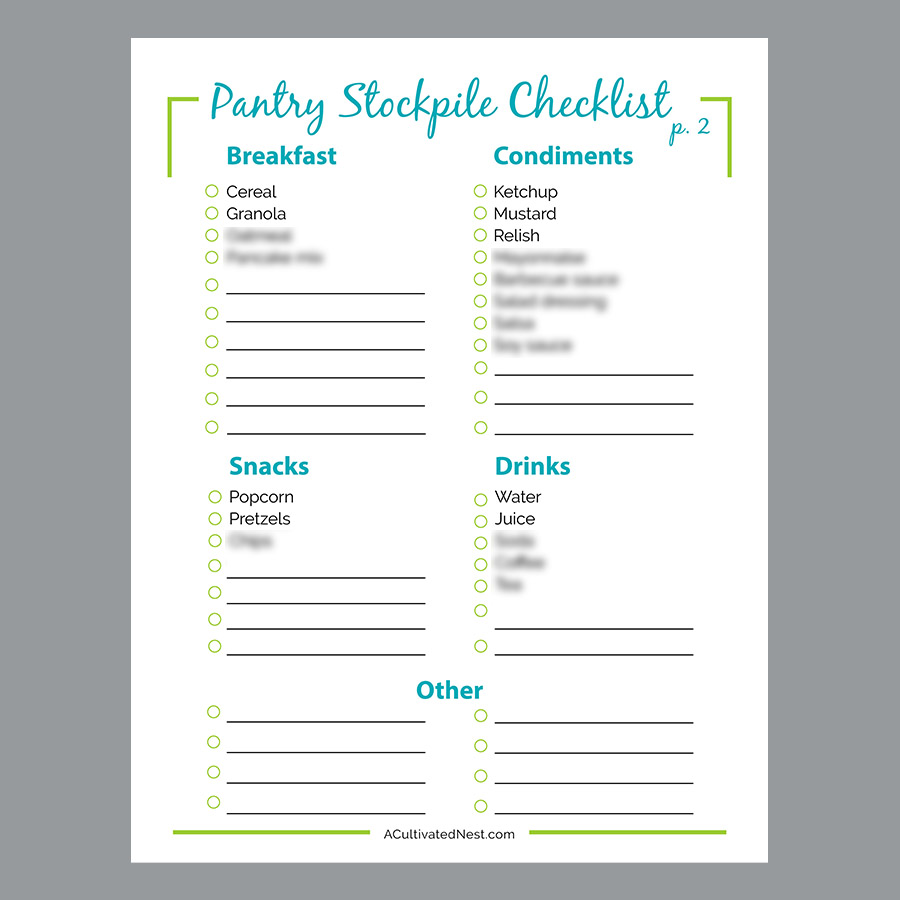 picture relating to Printable Pantry List identify Pantry Stockpile Browsing Record Printable