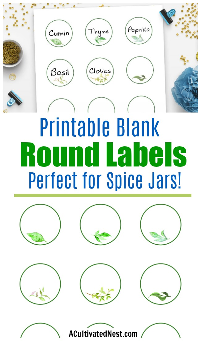 "Printable Blank Round Labels- These 2"" printable blank round labels with watercolor greenery are exactly what you need to organize spice jars and other small containers in style! 