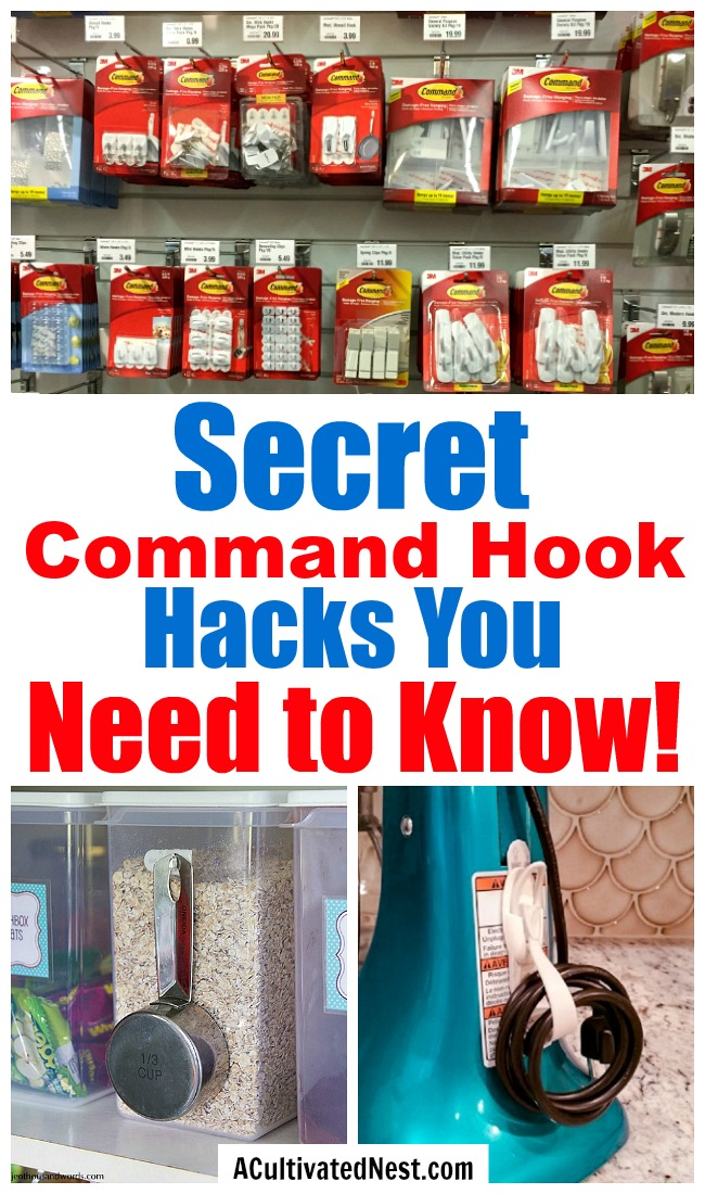 You're missing out if you don't know these 10 genius ways to use command hooks! They're such an inexpensive and easy way to get your home organized! | command hook hacks, clever organizing tips, organize jewelry, organize your pantry, #organizingTips #organization #homeOrganization #ACultivatedNest
