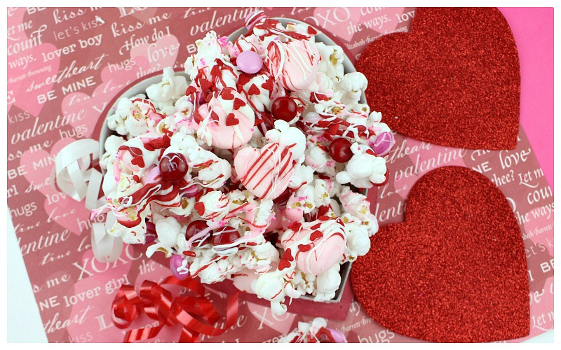 Valentine's Day Chocolate Drizzled Popcorn