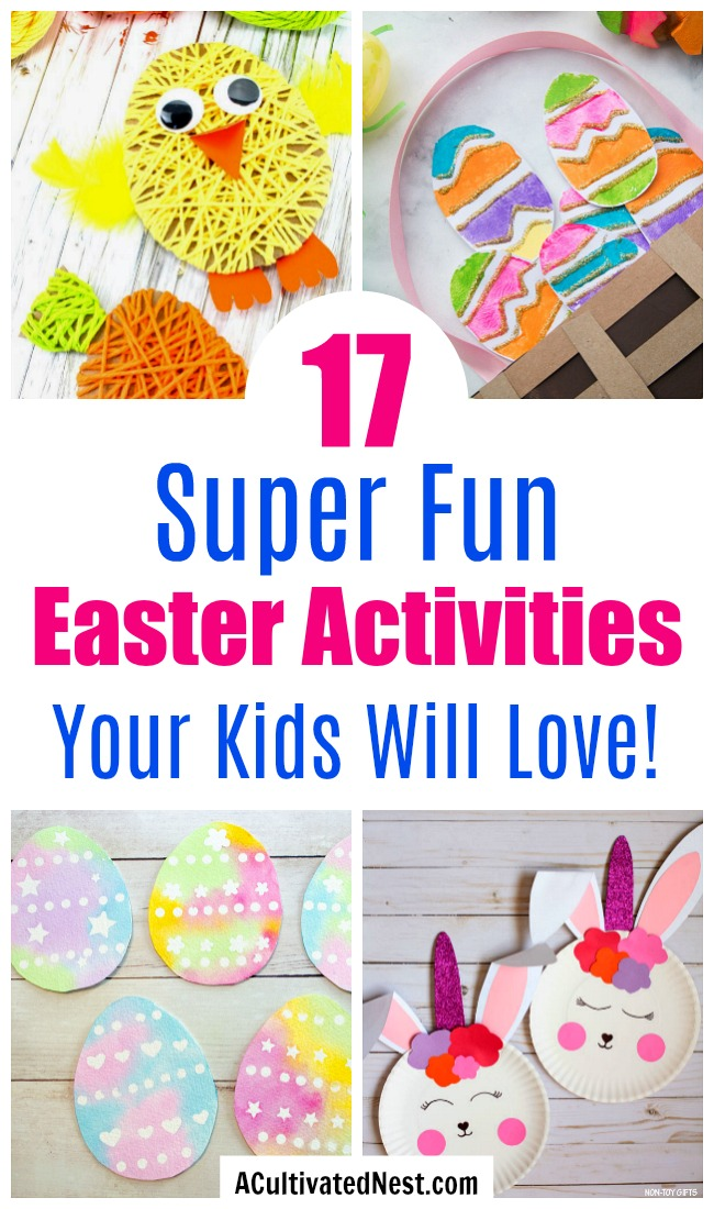 17 Fun and Frugal Easter Kids Activities- You don't have to break your budget to keep your kids busy this Easter! Instead, have them do some of these 17 fun and frugal Easter kids activities! | spring kids crafts, paper plate crafts, bunny kids crafts, DIY easter eggs, #kidsCrafts #kidsActivities #ACultivatedNest