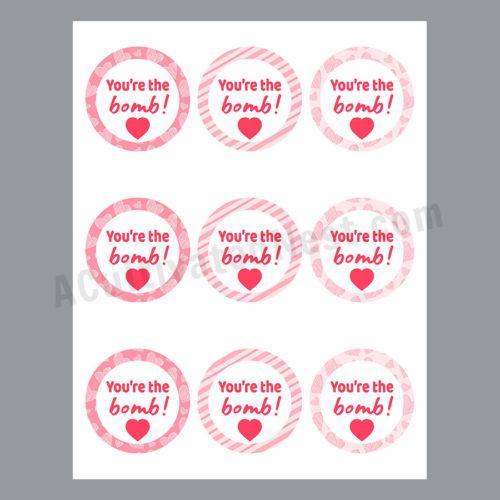 You're the Bomb- Bath Bomb Tags Printable
