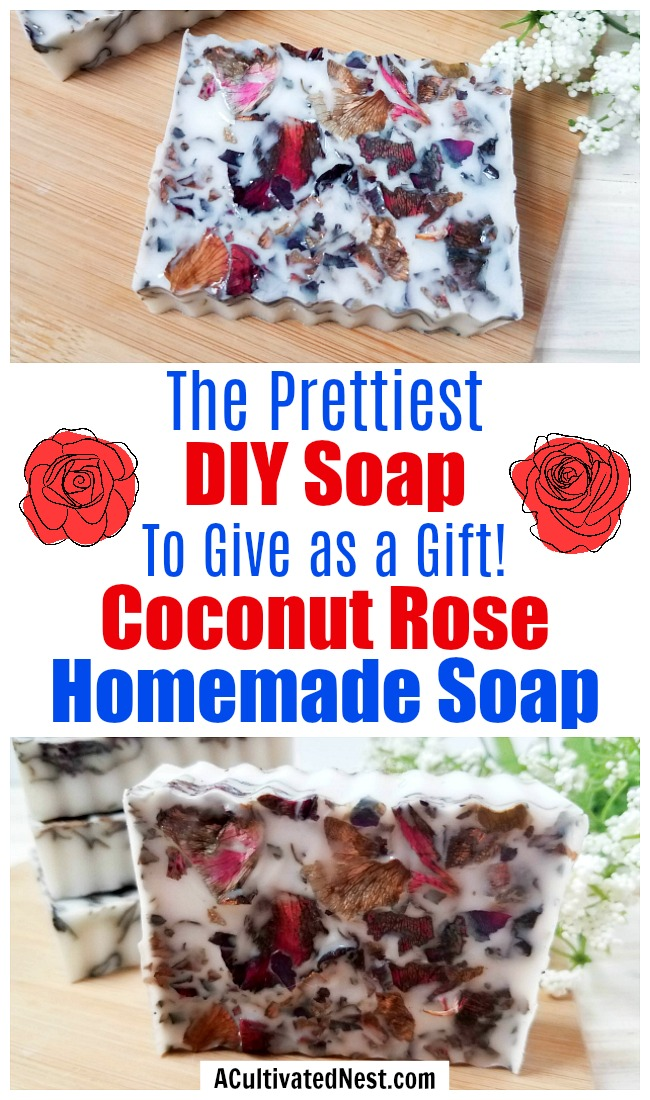 Coconut Rose DIY Soap- This coconut rose DIY soap is so easy to put together, and makes the most beautiful homemade soap DIY gift! And it uses real rose petals! | DIYs that use essential oils, floral soap, how to make your own soap, melt and pour soap recipes, goat milk soap, #soap #DIY #ACultivatedNest