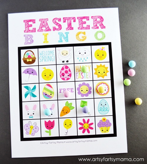 Printable Easter Bingo- Keep your kids entertained this Easter with these 17 fun and frugal Easter kids activities! They're so fun, and very inexpensive! | spring kids crafts, paper plate crafts, bunny kids crafts, DIY easter eggs, #Easter #kidsActivities #ACultivatedNest