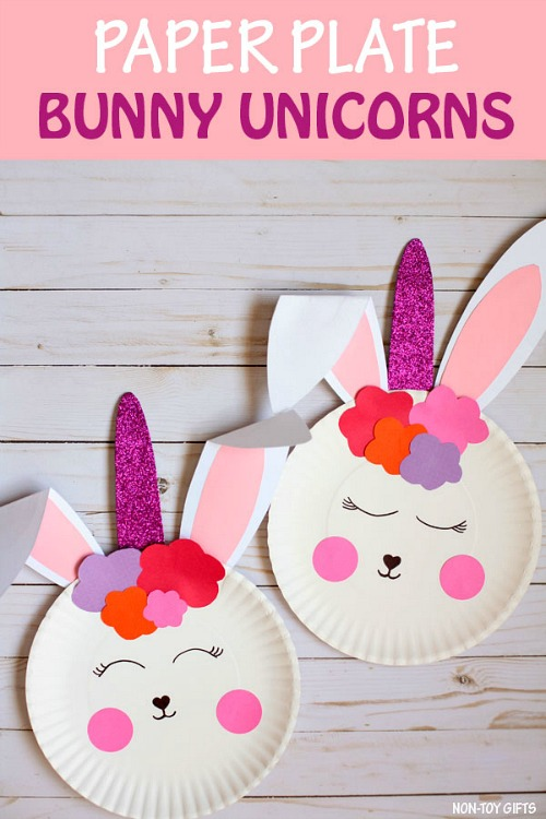 Bunny Unicorn Craft- Keep your kids entertained this Easter with these 17 fun and frugal Easter kids activities! They're so fun, and very inexpensive! | spring kids crafts, paper plate crafts, bunny kids crafts, DIY easter eggs, #Easter #kidsActivities #ACultivatedNest