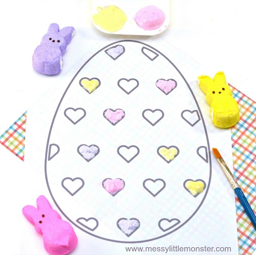 PEEPS Puffy Paint- Keep your kids entertained this Easter with these 17 fun and frugal Easter kids activities! They're so fun, and very inexpensive! | spring kids crafts, paper plate crafts, bunny kids crafts, DIY easter eggs, #Easter #kidsActivities #ACultivatedNest