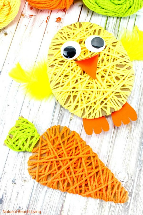 Easter Yarn Crafts- Keep your kids entertained this Easter with these 17 fun and frugal Easter kids activities! They're so fun, and very inexpensive! | spring kids crafts, paper plate crafts, bunny kids crafts, DIY easter eggs, #Easter #kidsActivities #ACultivatedNest