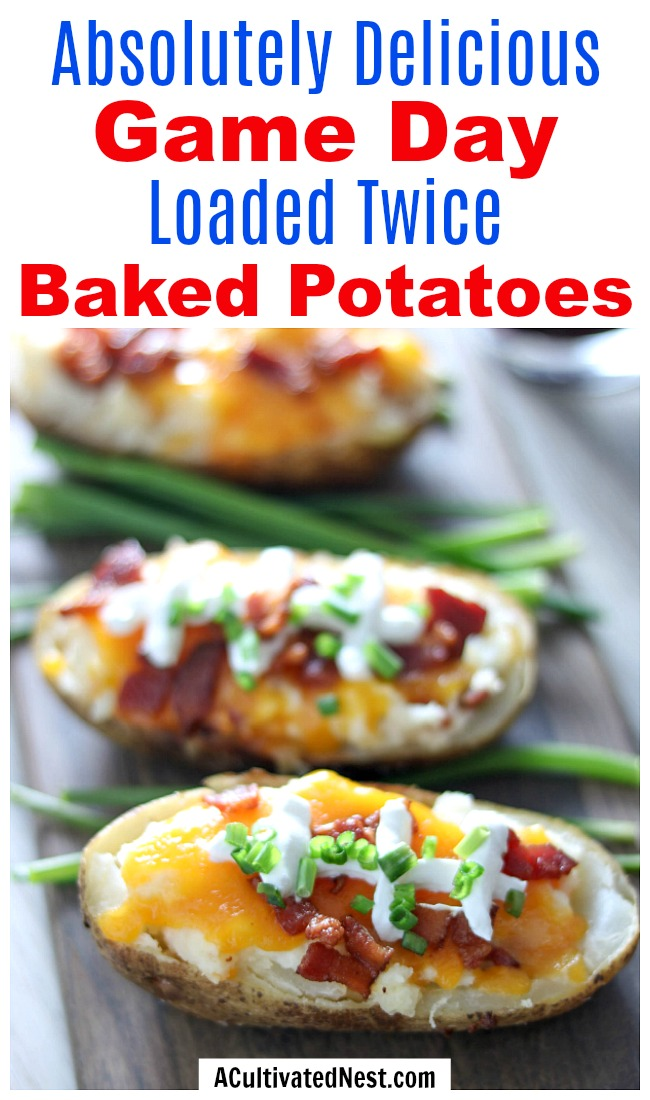 Game Day Loaded Twice Baked Potatoes- For a fun game day recipe, you have to make these loaded twice baked potatoes! They look just like little footballs! | football watch party, #appetizer #recipe #ACultivatedNest