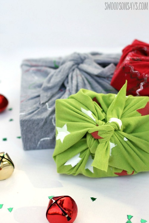 Make Furoshiki DIY Gift Wrap- Just because a t-shirt's old doesn't mean it's trash! Instead, try one of these awesome ways to upcycle t-shirts! There are a lot of great t-shirt DIYs to try! | repurpose t-shirt, t-shirt restyle, recycle t-shirt, ways to use favorite old shirts, #upcycle #diy #ACultivatedNest