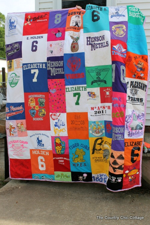QuiltT-Shirt Upcycle- Just because a t-shirt's old doesn't mean it's trash! Instead, try one of these awesome ways to upcycle t-shirts! There are a lot of great t-shirt DIYs to try! | repurpose t-shirt, t-shirt restyle, recycle t-shirt, ways to use favorite old shirts, #upcycle #diy #ACultivatedNest