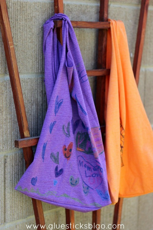 T-Shirt Bag for Kids- Just because a t-shirt's old doesn't mean it's trash! Instead, try one of these awesome ways to upcycle t-shirts! There are a lot of great t-shirt DIYs to try! | repurpose t-shirt, t-shirt restyle, recycle t-shirt, ways to use favorite old shirts, #upcycle #diy #ACultivatedNest