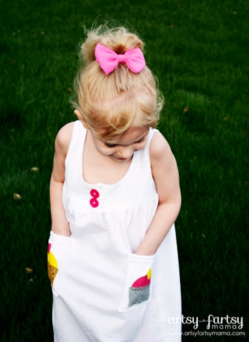 T-shirt Dress with Cricut Iron-On- Just because a t-shirt's old doesn't mean it's trash! Instead, try one of these awesome ways to upcycle t-shirts! There are a lot of great t-shirt DIYs to try!   repurpose t-shirt, t-shirt restyle, recycle t-shirt, ways to use favorite old shirts, #upcycle #diy #ACultivatedNest