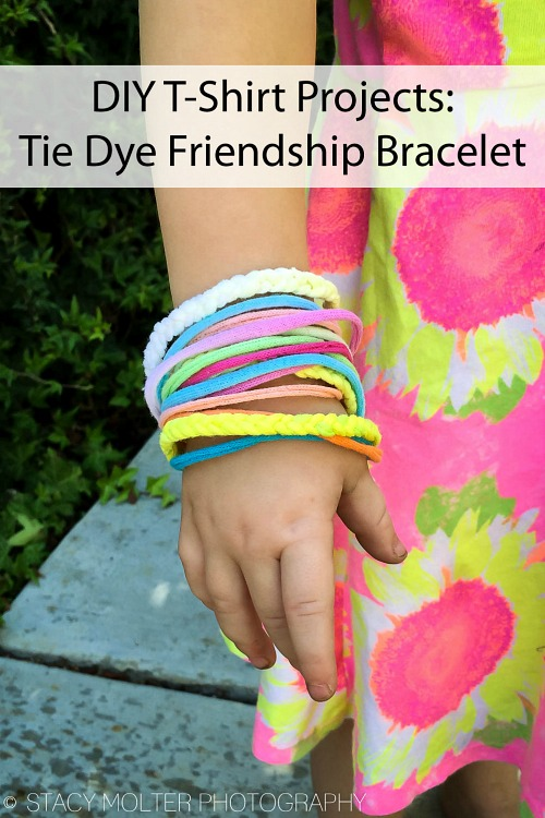 Tie-Dye T-shirt Bracelet- Just because a t-shirt's old doesn't mean it's trash! Instead, try one of these awesome ways to upcycle t-shirts! There are a lot of great t-shirt DIYs to try! | repurpose t-shirt, t-shirt restyle, recycle t-shirt, ways to use favorite old shirts, #upcycle #diy #ACultivatedNest