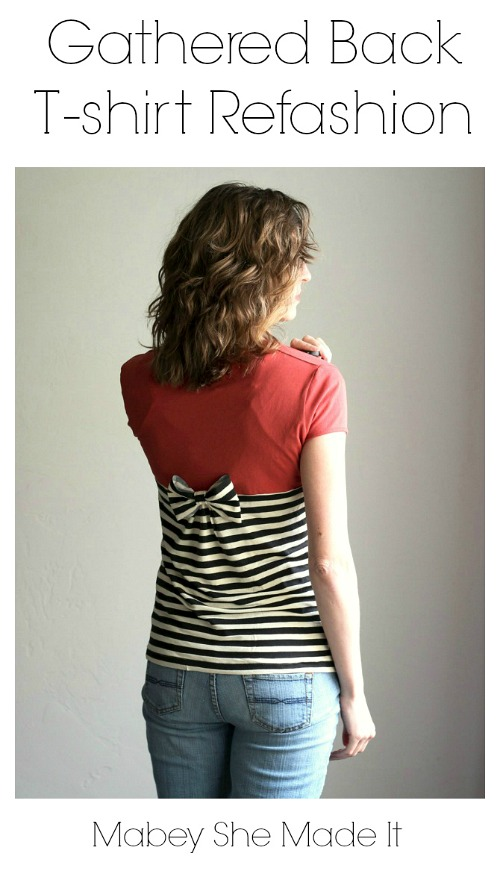 Gathered Back T-Shirt Refashion- Just because a t-shirt's old doesn't mean it's trash! Instead, try one of these awesome ways to upcycle t-shirts! There are a lot of great t-shirt DIYs to try! | repurpose t-shirt, t-shirt restyle, recycle t-shirt, ways to use favorite old shirts, #upcycle #diy #ACultivatedNest