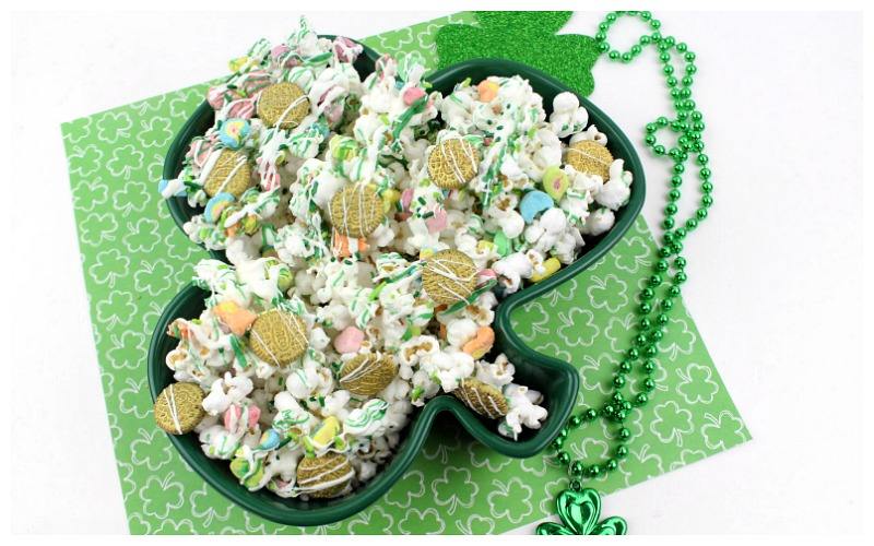 Lucky Charms Chocolate Drizzled Popcorn
