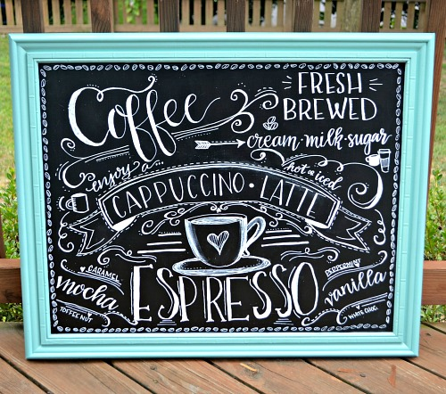 Framed Coffee Art- An inexpensive and easy way to make pretty decor is with dollar store materials! Check out all of this pretty home decor made with dollar store frames! | dollar store decor DIY projects, dollar store crafts, upcycle old frames, #dollarStore #dollarTree #DIY #decor #AcultivatedNest