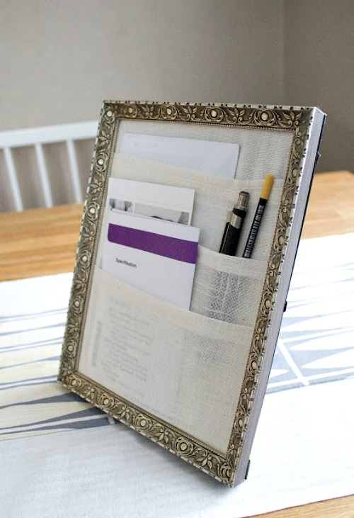 Frame Desk Organizer- An inexpensive and easy way to make pretty decor is with dollar store materials! Check out all of this pretty home decor made with dollar store frames! | dollar store decor DIY projects, dollar store crafts, upcycle old frames, #dollarStore #dollarTree #DIY #decor #AcultivatedNest