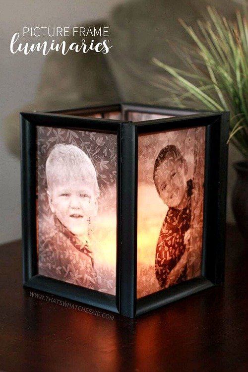 Picture Frame Luminaries- An inexpensive and easy way to make pretty decor is with dollar store materials! Check out all of this pretty home decor made with dollar store frames! | dollar store decor DIY projects, dollar store crafts, upcycle old frames, #dollarStore #dollarTree #DIY #decor #AcultivatedNest