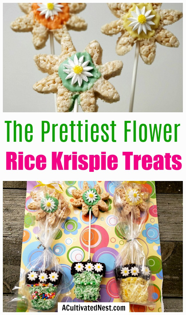Flower Pot Rice Krispies Treats- For an adorable spring party treat or after-school snack, you have to make these adorable flower pot rice krispies treats! | spring party dessert ideas, home rice krispies, crispy rice recipe, #dessertRecipe #recipe #riceKrispies #ACultivatedNest