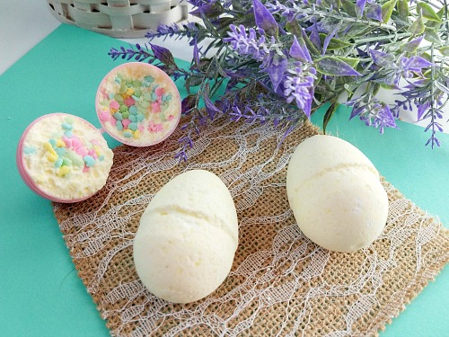 Sprinkle Surprise Easter Egg Bath Bombs- If you want a fun non-candy DIY gift to put in Easter baskets this year, then you need to make these sprinkle surprise Easter egg bath bombs! | homemade gift, DIY bath bomb, homemade bath bomb, Easter bath bomb, Easter basket stuffer, #Easter #bathBombs #ACultivatedNest