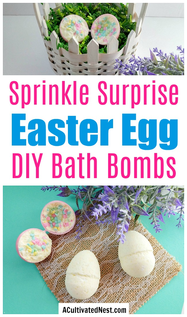Sprinkle Surprise Easter Egg Bath Bombs- These sprinkle surprise Easter egg bath bombs make a fun homemade Easter gift! These would also be great non-candy Easter basket stuffers! | homemade gift, DIY bath bomb, homemade bath bomb, Easter bath bomb, #Easter #DIY #ACultivatedNest