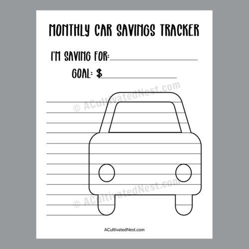 Printable Car Savings Tracker