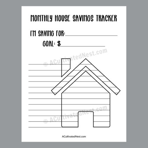 Printable House Savings Tracker