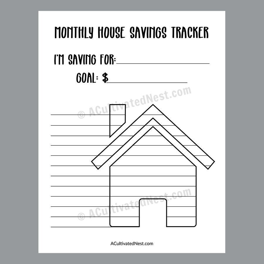 photograph regarding House Printable identify Printable Residence Personal savings Tracker