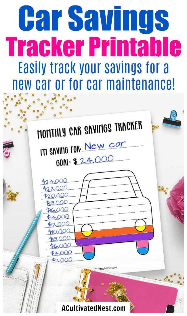 Printable Car Savings Tracker- This printable car savings tracker is a fun, easy way to track your savings progress for a new car or planned car maintenance! | personal finance worksheets, savings coloring page, sinking funds, #printable #frugalLiving #saveMoney #ACultivatedNest