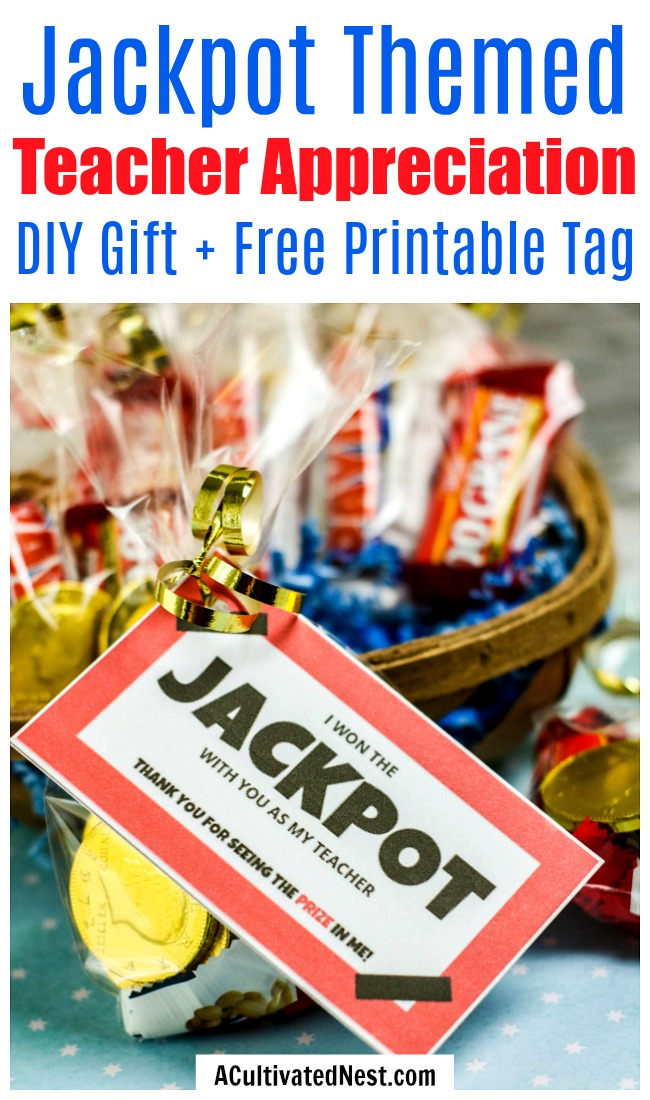 Jackpot DIY Teacher Appreciation Gift- This jackpot DIY teacher appreciation gift makes a clever (and tasty) end of the semester gift! And it comes with a free printable gift tag! | candy gift for teachers, food gift for teachers, end of the school year gift, end of the semester gift, #diyGift #teacherAppreciation #homemadeGift #ACultivatedNest