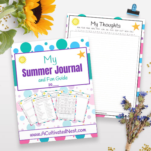 Free Printable Summer Journal for Kids- For an easy and inexpensive way to keep your kids busy this summer, you need this free printable summer journal for kids! | kids summer fun guide, kids summer reading, summer bucket list, reading scavenger hunt, #freePrintable #printable #kidsActivities #ACultivatedNest