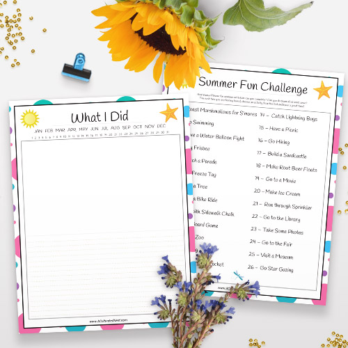 Kids Summer Journal Free Printable- For an easy and inexpensive way to keep your kids busy this summer, you need this free printable summer journal for kids! | kids summer fun guide, kids summer reading, summer bucket list, reading scavenger hunt, #freePrintable #printable #kidsActivities #ACultivatedNest