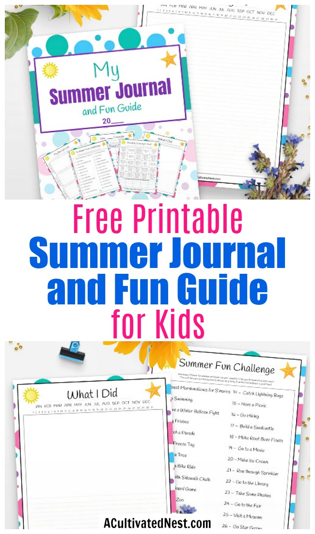 Free Printable Summer Journal for Kids- Need to keep your kids busy this summer? You need this free printable summer journal and summer fun guide for kids! | kids summer reading, summer bucket list, reading scavenger hunt, #freePrintable #printable #kidsActivities #ACultivatedNest