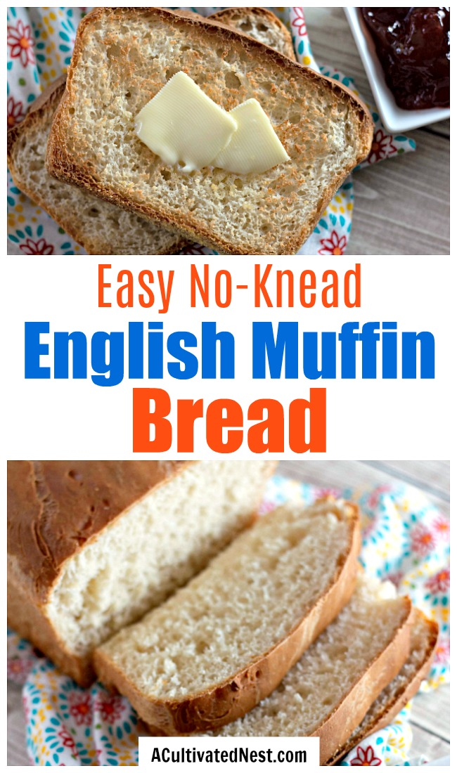 Homemade English Muffin Bread Recipe- If you love English muffins, then you need to try them as a loaf! It's easy to make this no-knead homemade English muffin bread! And it's so delicious toasted! | homemade bread, no knead bread, baking recipes, #bread #baking #recipe #ACultivatedNest