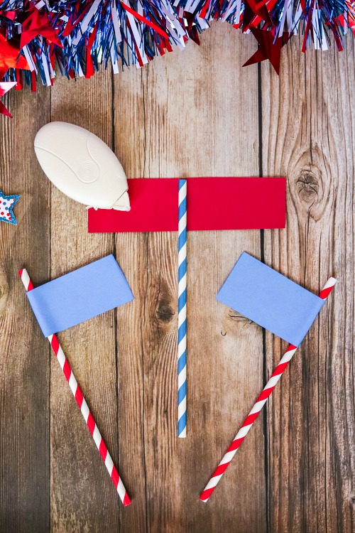 Patriotic DIY Straw Flags- For a fun (and tasty) drink to serve at your next Memorial Day or Fourth of July party, make this red, white, and blue layered drink + DIY straw flags! | patriotic drink recipe, homemade drink, #drinkRecipe #FourthOfJuly #MemorialDay #ACultivatedNest