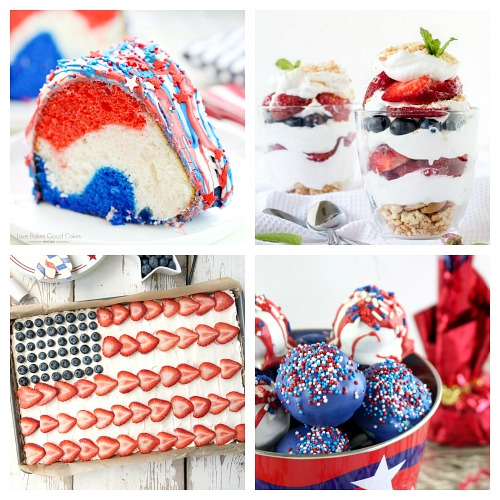 24 Delicious Red, White, and Blue Dessert Recipes- Have the best Memorial Day or Fourth of July party ever with these delicious patriotic dessert recipes! There are so many tasty red, white, & blue treats! | patriotic party treats, 4th of July desserts, Memorial Day desserts, cake, #dessert #FourthOfJuly #MemorialDay #ACultivatedNest