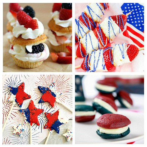 24 Desserts for Patriotic Parties- Have the best Memorial Day or Fourth of July party ever with these delicious patriotic dessert recipes! There are so many tasty red, white, & blue treats! | patriotic party treats, 4th of July desserts, Memorial Day desserts, cake, #dessert #FourthOfJuly #MemorialDay #ACultivatedNest
