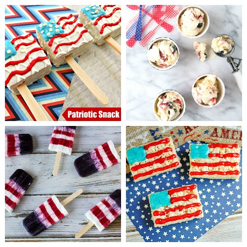 24 Patriotic Treat Recipes- Have the best Memorial Day or Fourth of July party ever with these delicious patriotic dessert recipes! There are so many tasty red, white, & blue treats! | patriotic party treats, 4th of July desserts, Memorial Day desserts, cake, #dessert #FourthOfJuly #MemorialDay #ACultivatedNest