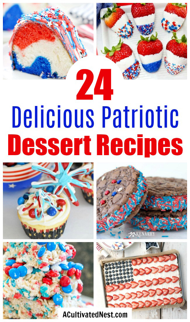 24 Delicious Patriotic Dessert Recipes- These delicious red, white, & blue treats will help you have the best Memorial Day or Fourth of July party ever! There are so many tasty patriotic desserts to choose from! | patriotic party treats, Fourth of July desserts, Memorial Day desserts, cake, #dessertRecipe #4thOfJuly #MemorialDay #ACultivatedNest