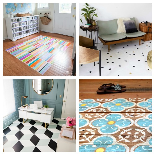 How to Paint Your Floors- An inexpensive way to update your home's flooring on a budget is to paint it! For some great inspiration, check out these 20 gorgeous DIY painted floor ideas! | update your floors on a budget, how to paint linoleum floors, paint tile floors, paint concrete floors, paint hardwood floors, paint wood floors, paint vinyl floors #DIY #homeRenovation #paintedFloors #ACultivatedNest