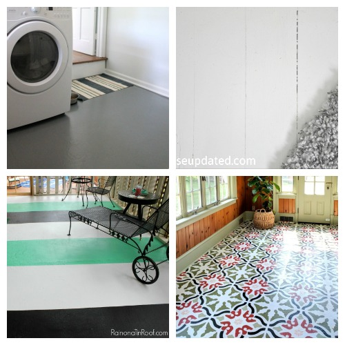 Painted Floor Inspiration- An inexpensive way to update your home's flooring on a budget is to paint it! For some great inspiration, check out these 20 gorgeous DIY painted floor ideas! | update your floors on a budget, how to paint linoleum floors, paint tile floors, paint concrete floors, paint hardwood floors, paint wood floors, paint vinyl floors #DIY #homeRenovation #paintedFloors #ACultivatedNest