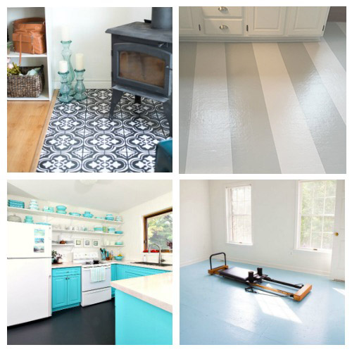 Update Your Floors with Paint- An inexpensive way to update your home's flooring on a budget is to paint it! For some great inspiration, check out these 20 gorgeous DIY painted floor ideas! | update your floors on a budget, how to paint linoleum floors, paint tile floors, paint concrete floors, paint hardwood floors, paint wood floors, paint vinyl floors #DIY #homeRenovation #paintedFloors #ACultivatedNest