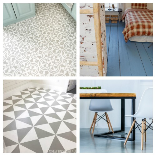 How to Paint a Pattern On Your Floors- An inexpensive way to update your home's flooring on a budget is to paint it! For some great inspiration, check out these 20 gorgeous DIY painted floor ideas! | update your floors on a budget, how to paint linoleum floors, paint tile floors, paint concrete floors, paint hardwood floors, paint wood floors, paint vinyl floors #DIY #homeRenovation #paintedFloors #ACultivatedNest